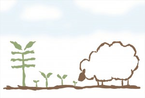 「羊」の葉っぱを食む羊イラスト_R